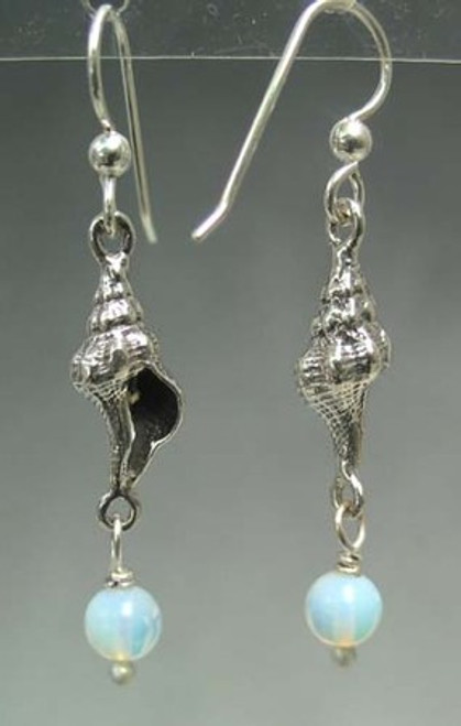 fighting conch shell earrings with glass opilite dangles