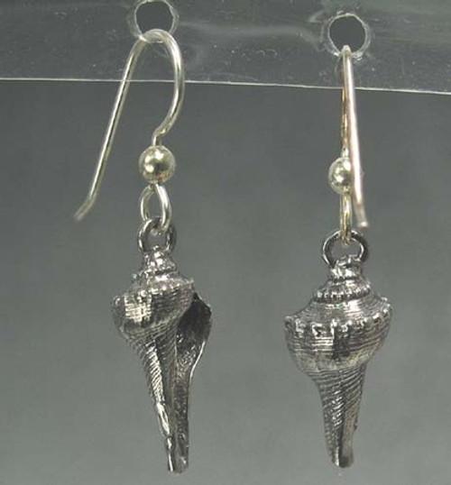 Lightning Whelk Sea Shell Drop Dangles Beachcomber Series Earrings in Sterling Silver