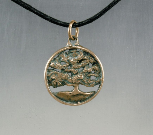Tree Round Live Oak in Bronze Forest Life Tree Pendant Necklace
