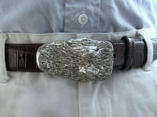 Sterling silver textured gator head buckle for 1.25 belt
