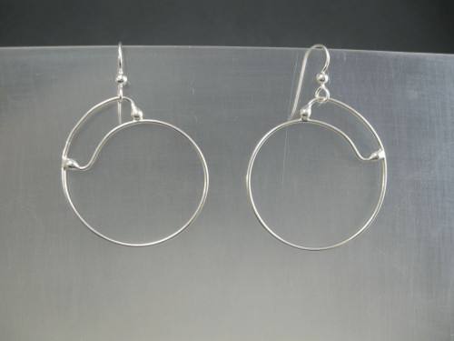 Closed top 40mm Crashing Waves Spiral  Hoop Earrings in Sterling Silver