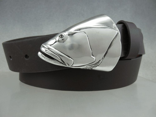 "Grouper fish portrait in silver shown on 1.25"" belt Also fits 1.5 "" belt. sold separately  Shown on 1 1/4 belt"