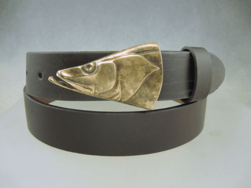 """Snook buckle in bronze. Shown with the natural patina on a 1.25"""" cow hide belt. Sold separately"""