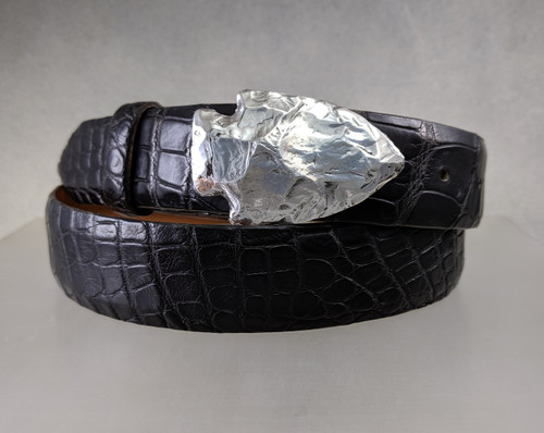 Arrow head Buckle in Sterling polished finish shown on a black 1.25 in.  alligator belt
