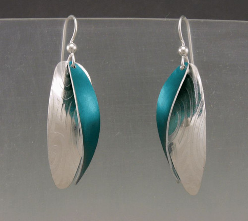 Two Twist earring in sterling and teal  anodized aluminium