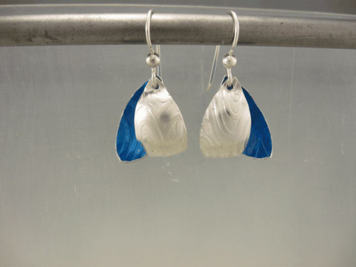 Leaf Earring acorn with color  shown here in blue anodized Aluminium and sterling le-99acorn-alss-bl