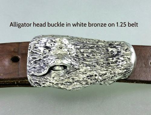 Alligator buckle in white bronze on 1.25 belt