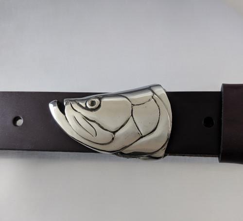 Tarpon Face Fish Buckle in White Bronze