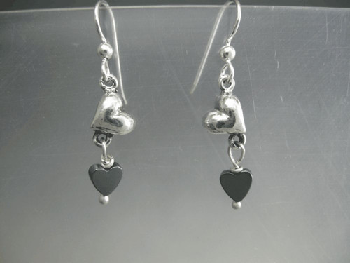 Heart Earrings Small Tilted Drop Dangles with Stone Bead in Sterling Silver