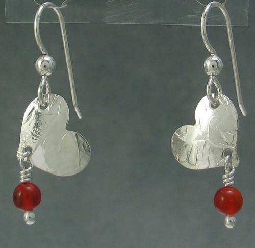 he- Tilted Heart Earring with carnelian bead