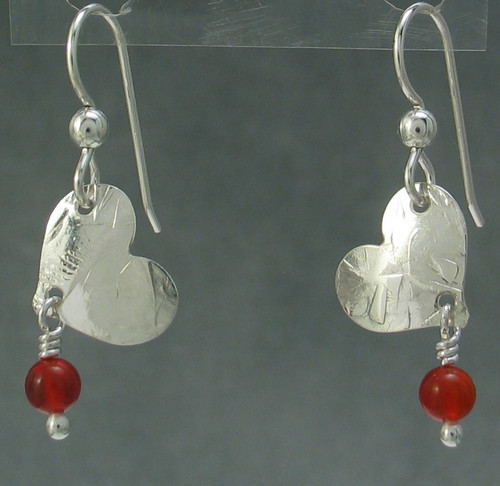 he- Tilted Heart Earring with carnelian bead