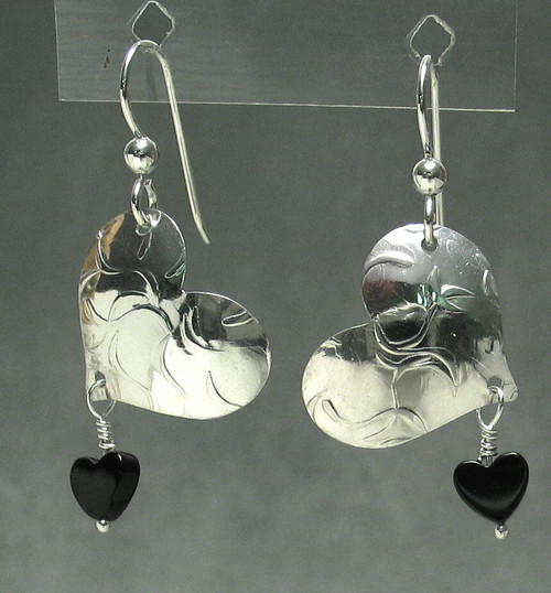 he- Tilted Heart Earring with hematite bead