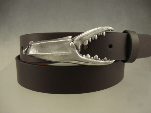 Blue crab claw belt buckle in sterling with the brushed finish