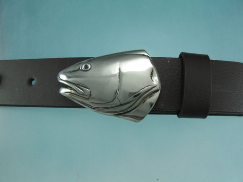 White Bronze Red Fish portrait buckle with natural patina and high polish finish