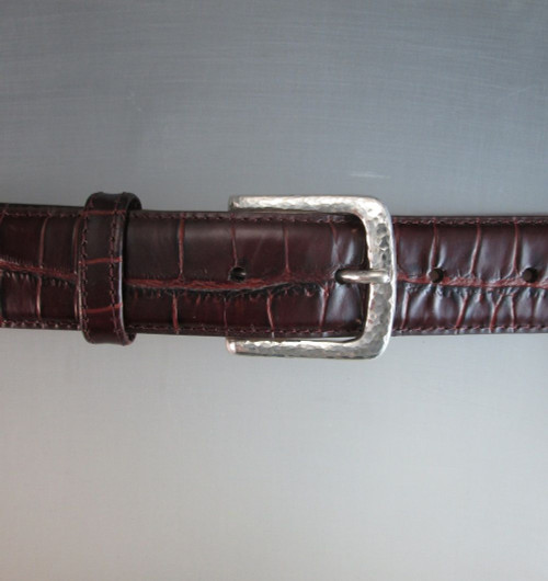 """""""The Explorer"""" Dress Buckle in Sterling Silver Hammered Texture shown on the croc textured belt"""