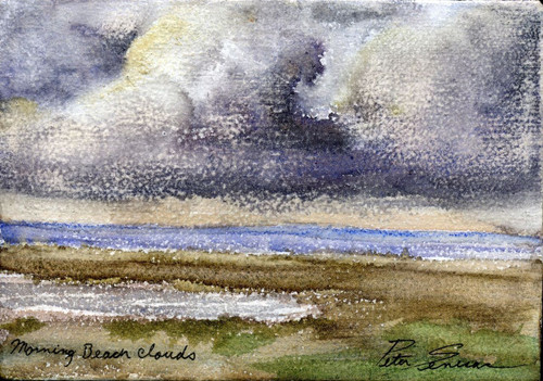 Beach Clouds  mixed media on canvas. 5 x 7 unframed