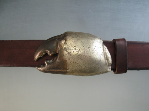 The Florida Stone Crab Claw buckle in bronze. Shown on 1 1/4 belt