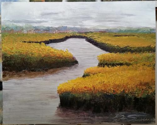 Hunting Island Marsh  16 x 20 acrylic on wood panel