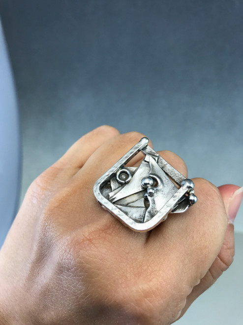 Abstract Sterling Statement Ring