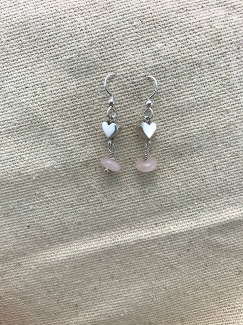 Flat Heart Sterling Silver Earrings with Pink Stone Dangles
