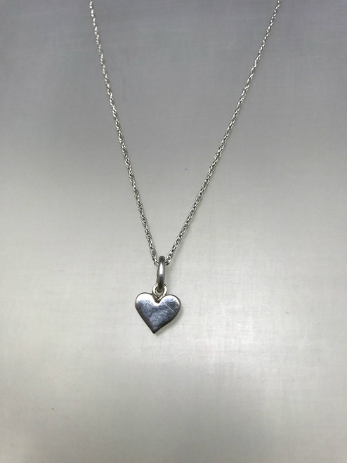 Tiny Flat Heart Sterling Silver Pendant