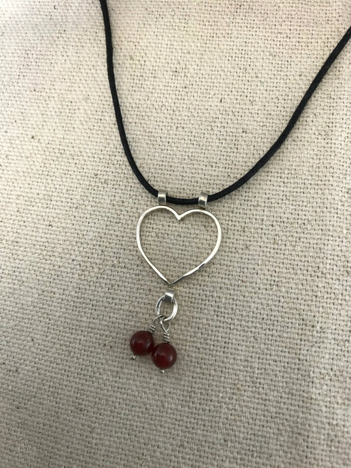 Wire Heart Sterling Silver Pendant with Two Carnelian Beads