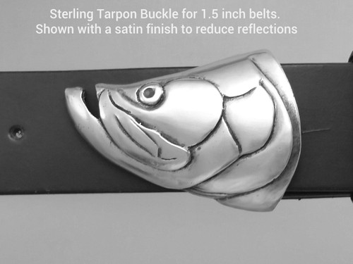 The Tarpon Buckle for 1.5 in belts shown here with the satin finish
