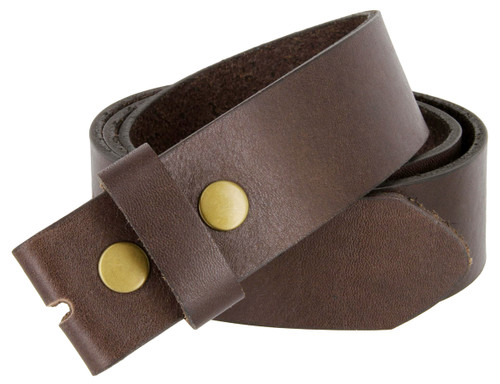 Brown  one piece genuine full grain leather belt strap 1 1/2 inches wide with 2 snaps