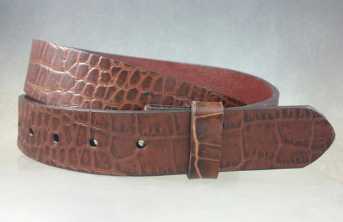 One piece brown crocodile/ alligator embossed pattern, full grain leather belt strap 1 3/8 to 1 1/2 for 1 1/2 inch buckles .