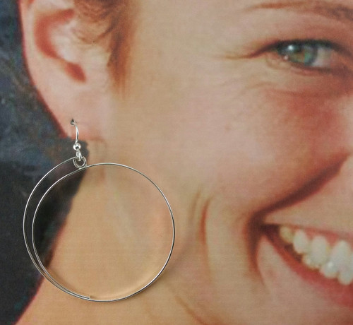 Hoop Earring with Loop Top Closed Half Spiral Flat Wire