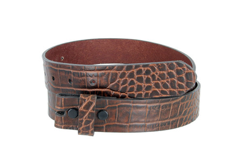 Belt in Brown Genuine embossed alligator textured cow hide belt fits on all 1.25 inch buckles. One piece strap with no stitching. The edges are nicely finished.  It has2 snaps and a keeper.  Brown color