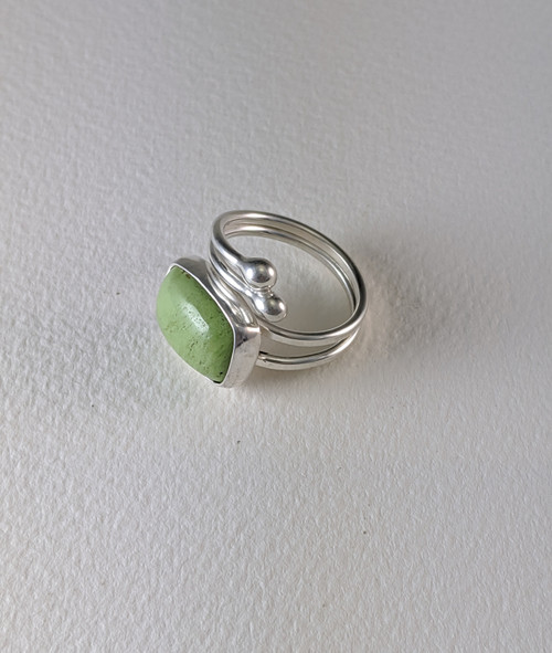 Adjustable Ring With Green Jasper
