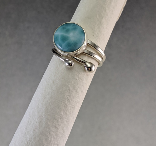 Adjustable Ring with 10mm Larimar