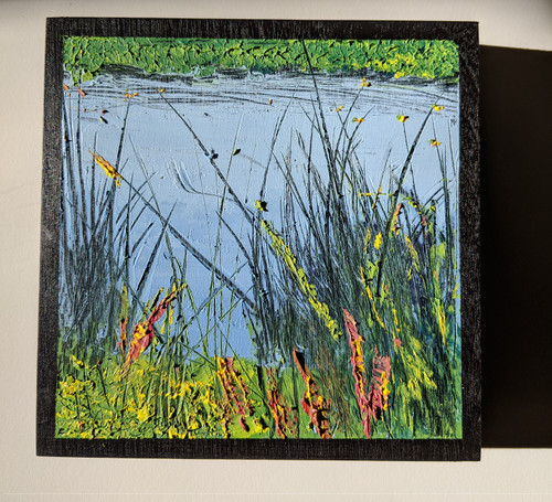 Across The Water  6 x 6 oil and cold wax.  Direct sun light