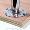 Slim table leg mounting plate, mounted to a tabletop - replacementtablelegs.com