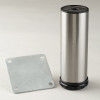 Brushed Steel Como Leg, 6'' Cabinet Leg with mounting bracket - replacementtablelegs.com