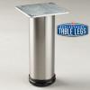 Brushed Steel Como Leg, Cabinet Leg,  2'' diameter, 1-1/8'' adjustable foot - replacementtablelegs.com
