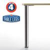 Hamburg Table Leg, 34-1/4'' height, 2-3/8'' diameter leg 1-1/8'' adjustable foot - replacementtablelegs.com
