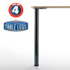 "Bremen Table Leg, Matte Black, 27-3/4'', 2"" diameter leg 1-1/8'' adjustable foot - replacementtablelegs.com"
