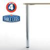 Prisma Metal Table Leg, Chrome, 34-1/4'' height, 2-3/8'' diameter leg, 1-1/8'' adjustable foot - replacementtablelegs.com