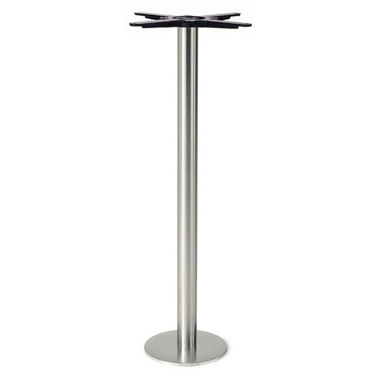 Round Pedestal Table Base Brushed Stainless Steel 40 1 8 Bar Height 8 Bolt Down Round Base 3 Diameter Steel Column Single Replacementtablelegs Com