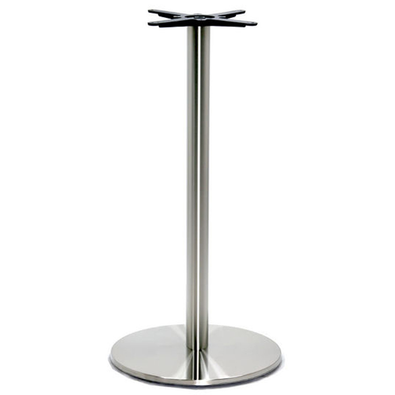 """Round Table Base, Brushed Stainless Steel, 42-1/2"""" height, 18"""" round base, 3""""diameter steel column - replacementtablelegs.com"""