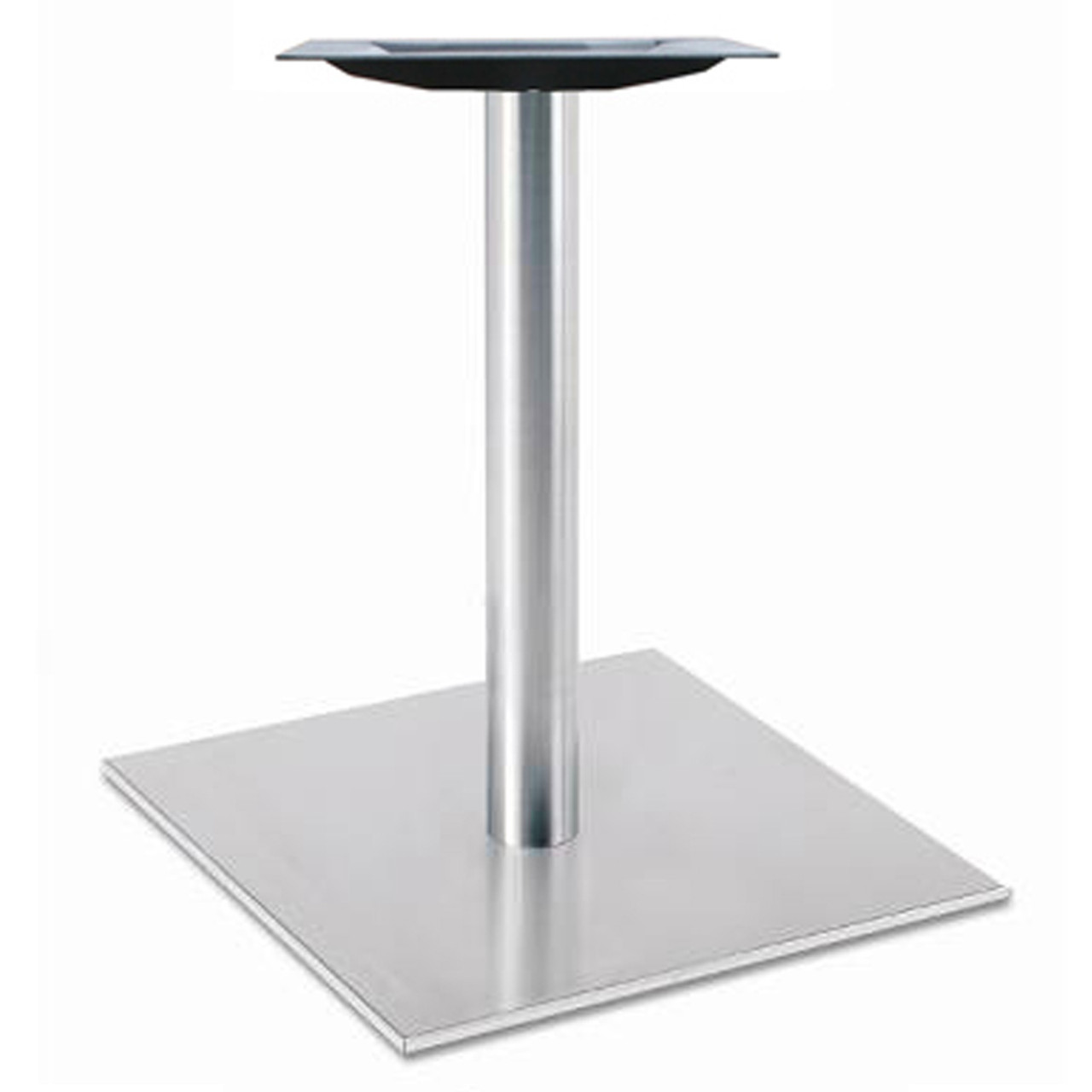 """Square, Brushed Stainless Steel Table Base, 28-3/8"""" height, 17"""" round base, 3""""diameter steel column - replacementtablelegs.com"""