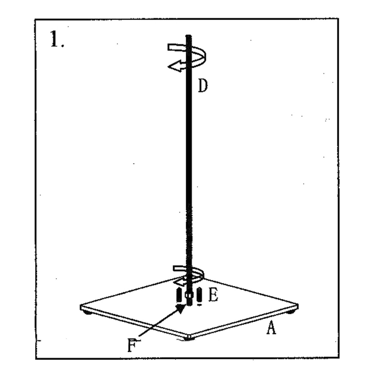 Diagram - securing rod (D) to table base (A)