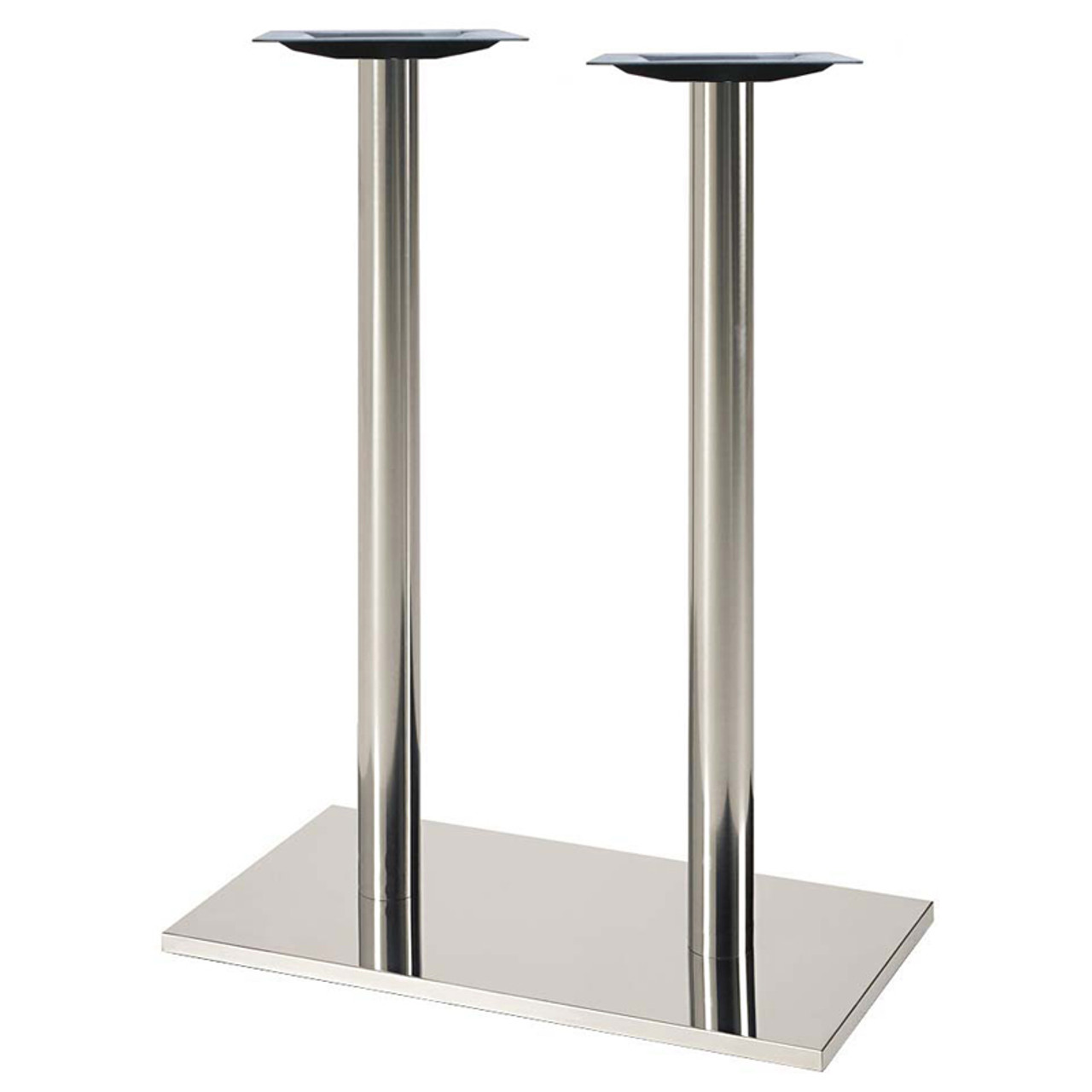 "Square, Brushed Stainless Steel Table Base, 42-1/2"" height, 16""x28"" square base, two 3""diameter steel columns - replacementtablelegs.com"