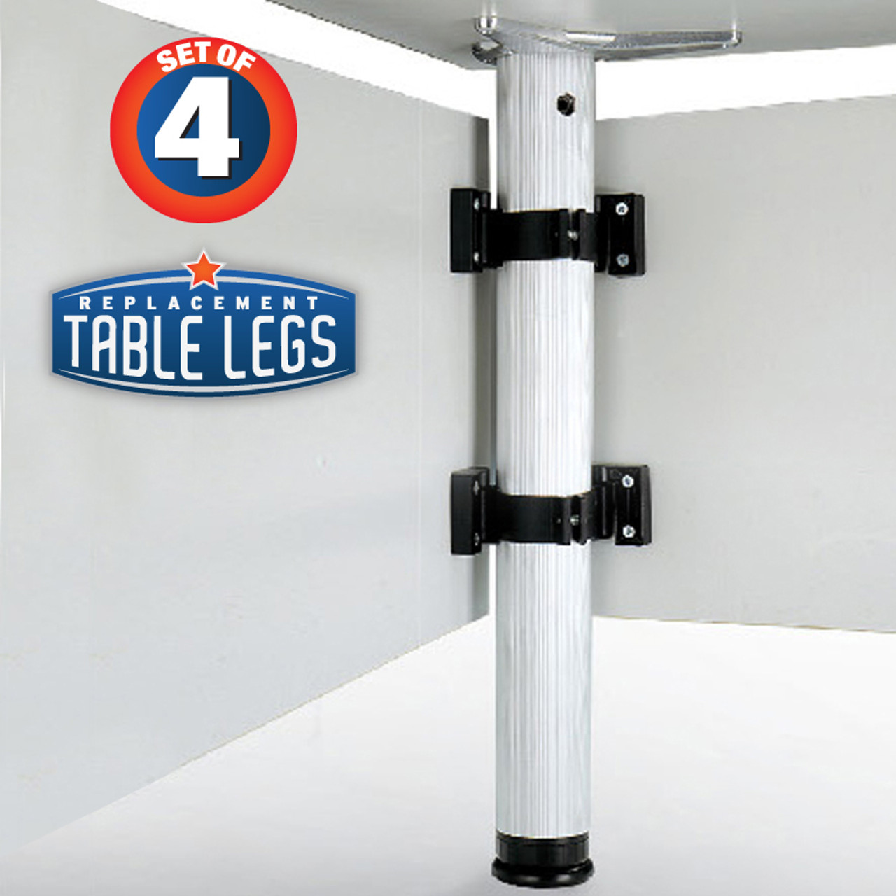 """Modesty Panel Clips, for 2-3/8"""" Table Legs attached to a desk - replacementtablelegs.com"""