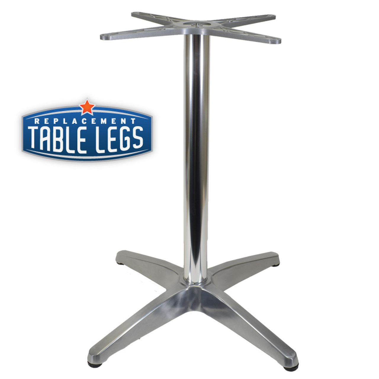 "4 LEG PRONG TABLE BASE, Polish Aluminum, 28-1/4"" height, 26"" base spread, 2-1/2""diameter column - replacementtablelegs.com"