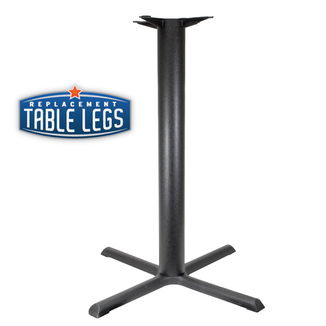"CAST IRON TABLE BASE, X Style 22""x22"", 40"" height, 3"" diameter steel column - replacementtablelegs.com"