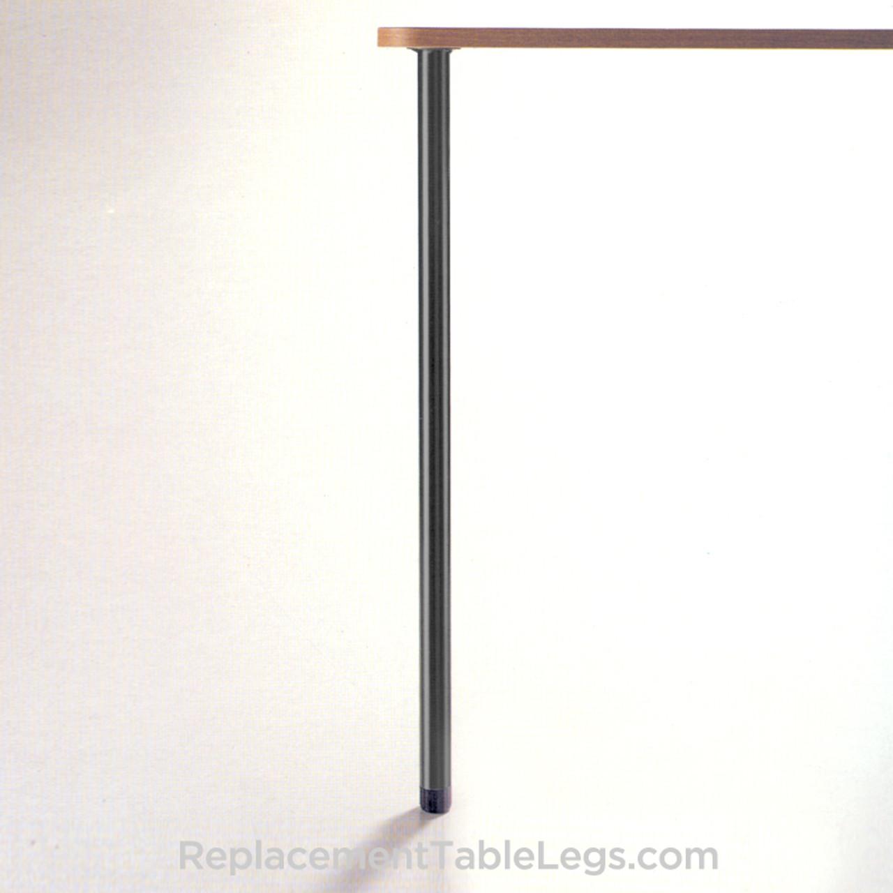 "Slim Table Legs, 27-3/4"" table height, 1-3/8"" diameter, 1"" adjustable foot, black matte - replacementtablelegs.com"