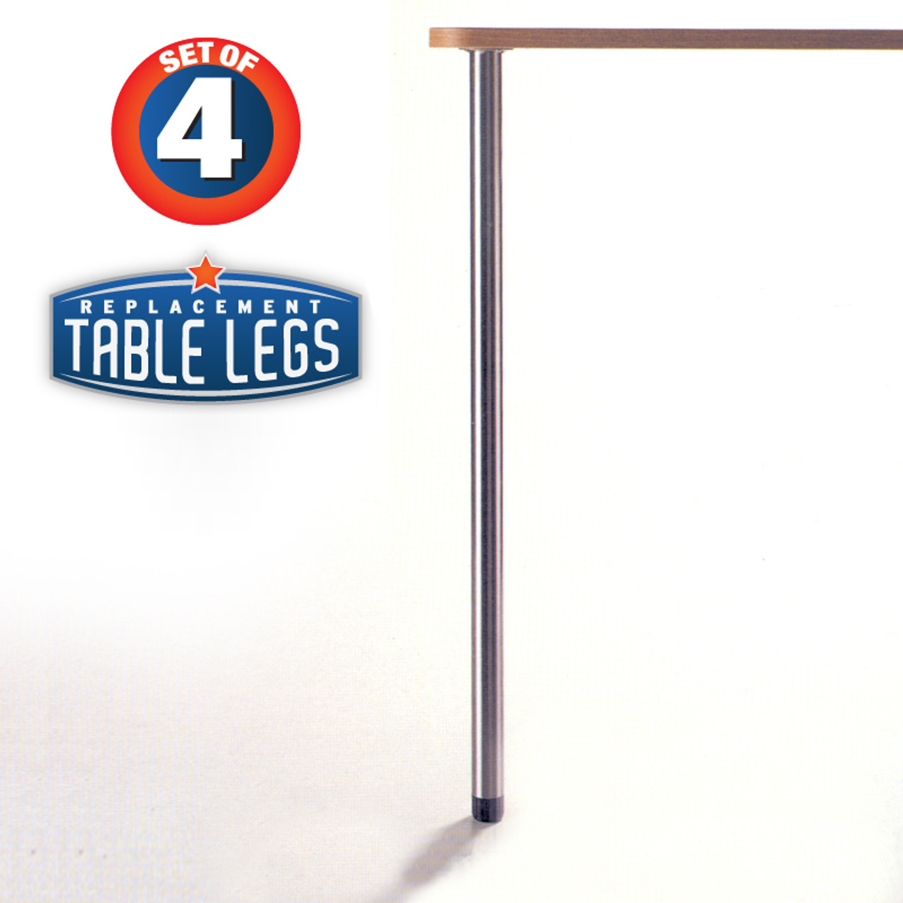 "Slim Table Legs, 27-3/4"" table height, 1-3/8"" diameter, 1"" adjustable foot, chrome - replacementtablelegs.com"